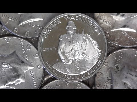 GEORGE WASHINGTON COMMEMORATIVE SILVER PROOF FOUND & MORE!!! HALF DOLLAR COIN ROLL HUNTING! #27