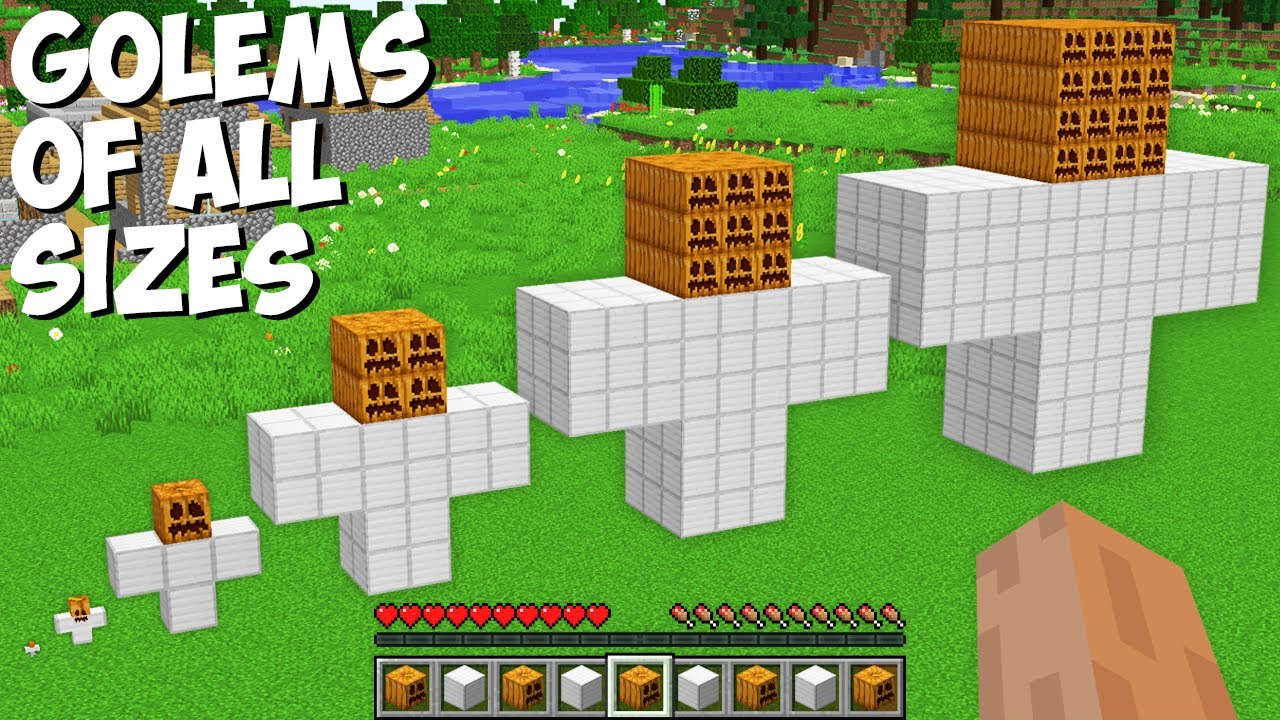 I can SPAWN A GOLEM OF ALL SIZES in Minecraft ! TINY, SMALL, NORMAL, BIG, BIGGEST, TITAN GOLEM !