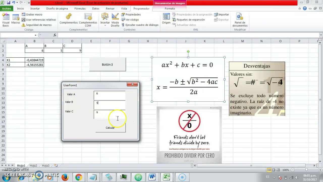 Calcular Ecuacion Cuadratica con Formularios VB en Excel P2 - YouTube