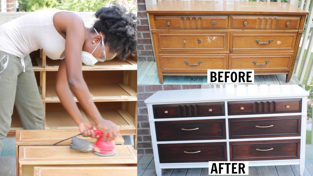 Diy Furniture Makeover Dresser Transformation Youtube