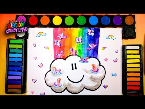 learn to color for kids and color a rainbow cloud coloring page - Coloring Page Rainbow Clouds