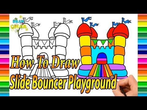How to Draw Slide Bouncer Playground for Kids |Coloring Pages| draw color