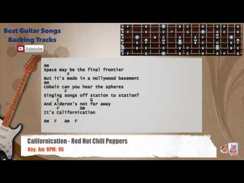 Californication - Red Hot Chili Peppers Guitar Backing Track with scale, chords and lyrics