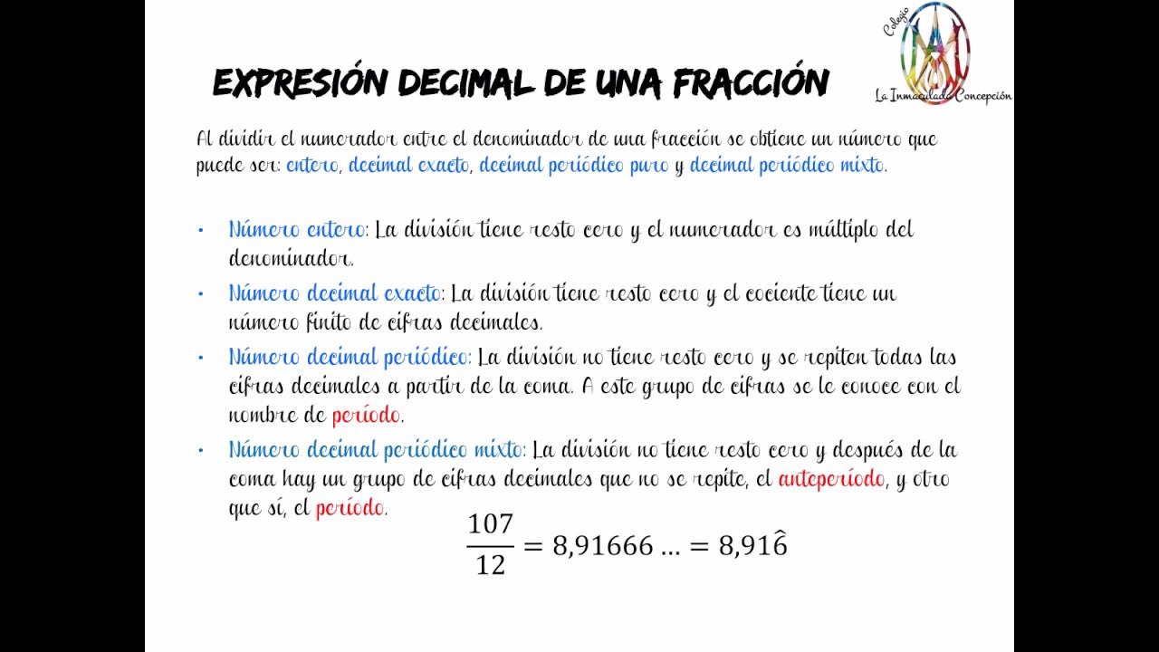 07 expresi n decimal de un n mero tipos de n meros racionales youtube - Concepcionistas escorial ...