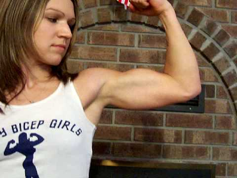 Woman flexing sexy biceps