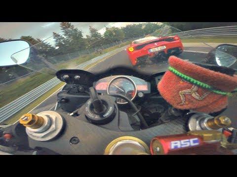 Very Fast R6 Biker VS Ferrari Porsche | Nordschleife BTG 7:45