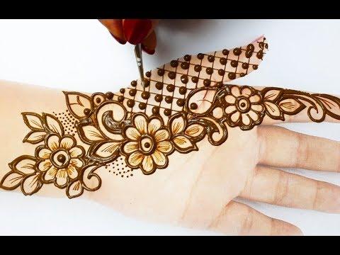 मेहँदी डिज़ाइन लगाने का आसान तरीका - Shaded Flower Mehndi Design for Hands- New Mehndi Design