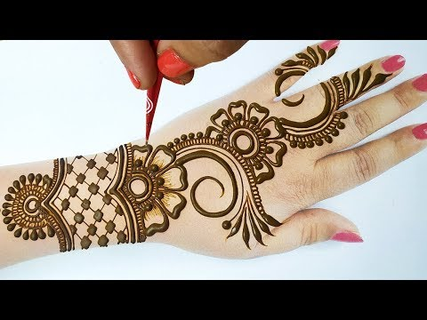 आसान मेहँदी डिज़ाइन लगाना सीखे - Stylish Arabic Mehndi Design on Backhand - Full hand Easy Mehndi