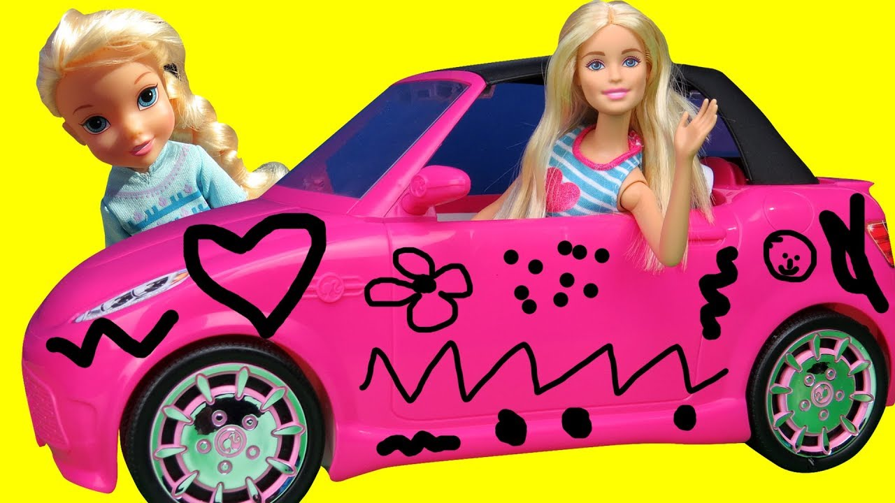 Elsa And Anna Toddlers Draw On Barbie S New Car Does Barbie Allow Them They Draw Cute Things Youtube