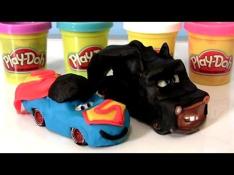 PlayDoh Superheroes Cars Batmobile Bat Mater Batman vs. Superman Lightning McQueen Play dough Pixar