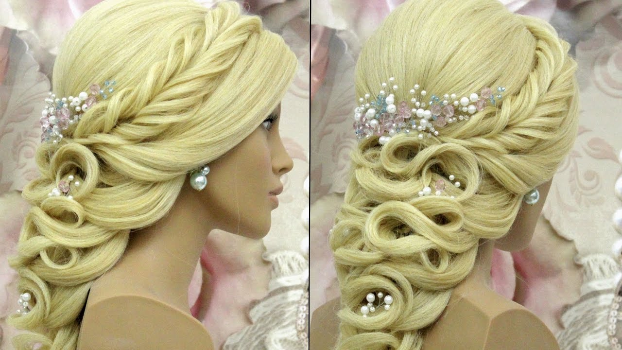 Prom wedding hairstyle for long hair. Tutorial - YouTube