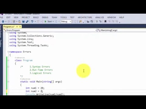 syntax runtime and logical Errors in c#