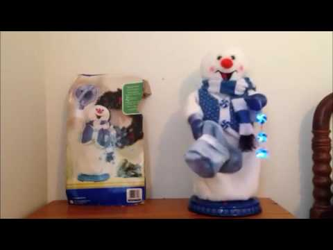 Gemmy Animated Blue Peppermint Snowflake Spinning Snowman (Original Video)