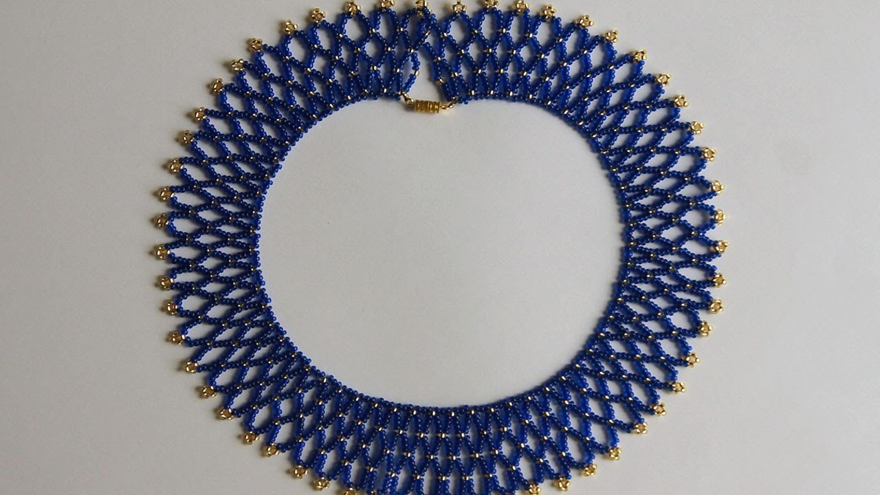 How To Make A Blue Gold Bead Necklace - DIY Style Tutorial ...