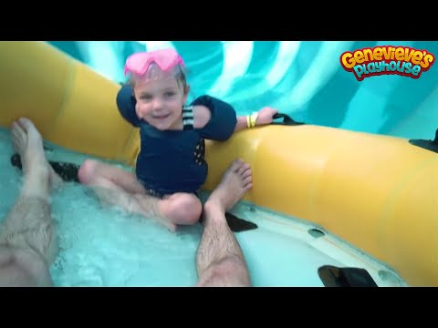 Family Fun Water Slides Indoor Waterpark for Kids with Genevieves Playhouse!