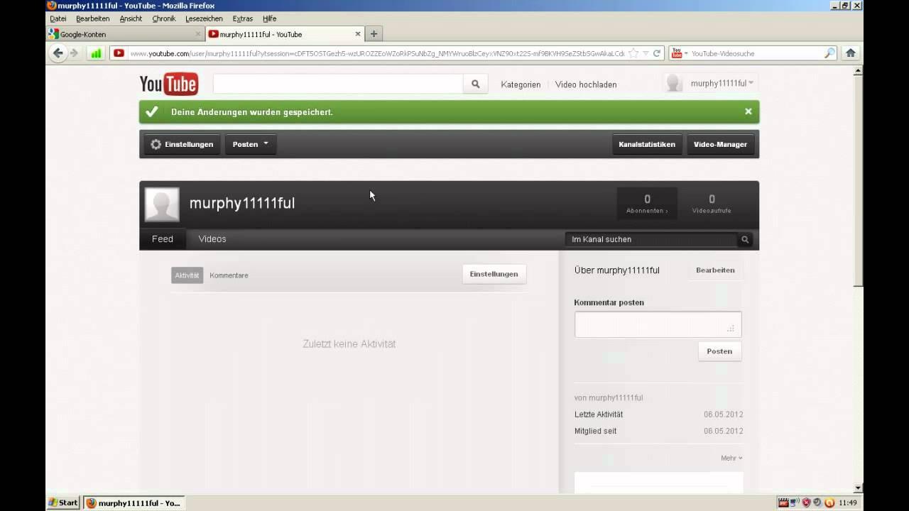 Anmeldung Youtube