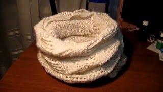 Вяжем круговой ажурный шарф-снуд (хомут) спицами. Мастер-класс вязания для начинающих(Вяжем круговой ажурный шарф-снуд (хомут) спицами. Мастер-класс вязания для начинающих. Вяжем снуд спицами..., 2016-01-07T22:27:16.000Z)