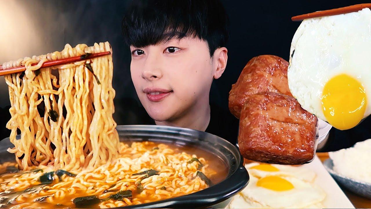 SUB)앵그리너구리 라면에 통스팸 계란후라이 리얼사운드 집밥먹방ASMR KOREAN HOMEMADE FOOD MUKBANG EATING SHOW★