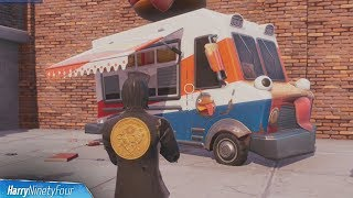 Dance or Emote Between Two Food Trucks  - Fortnite (Downtown Drop Challenge)