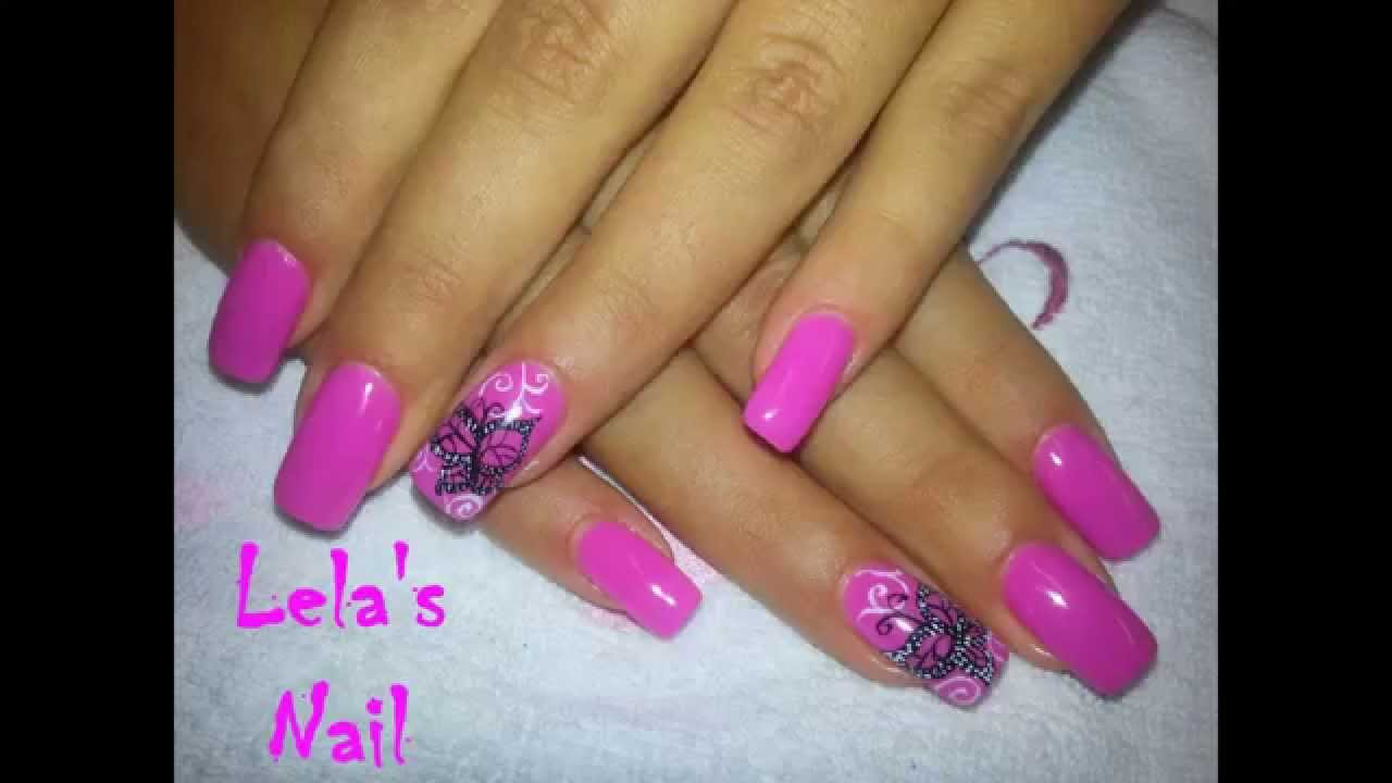 Pink butterfly nail art gelish candyland gel nails tutorial youtube prinsesfo Images