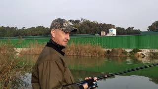 Река Сегура Рыбалка в Guardamar del Segura Испания сеи час