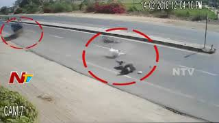 Road Mishap in Gujarat Highway || Jeep Hits Bike || 3 wounded || NTV