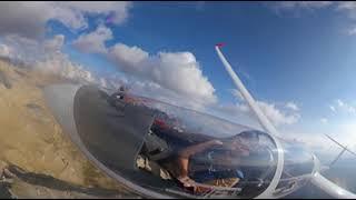 Полет и посадка на планере с 360 камерой