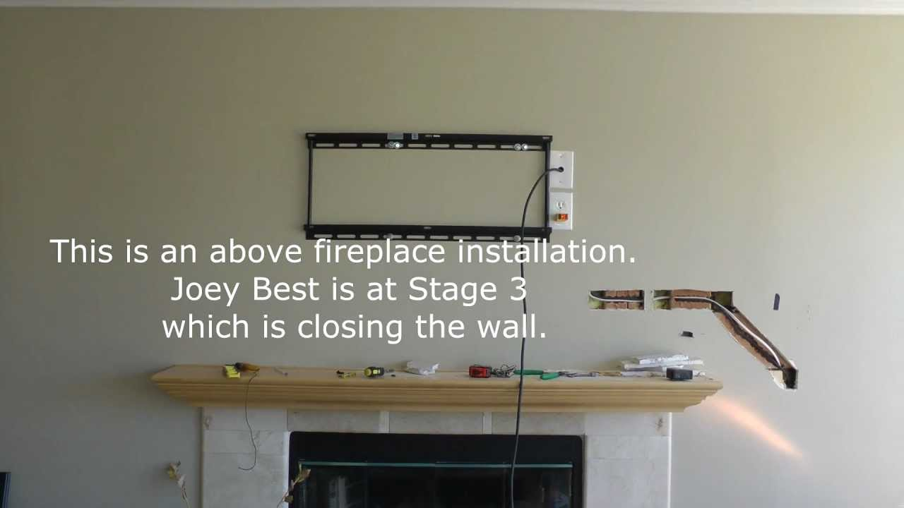 flat screen hdtv installation above over fireplace carlsbad ca