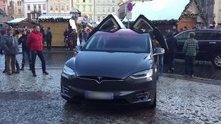 TESLA X Christmas light show easter egg in center Praha
