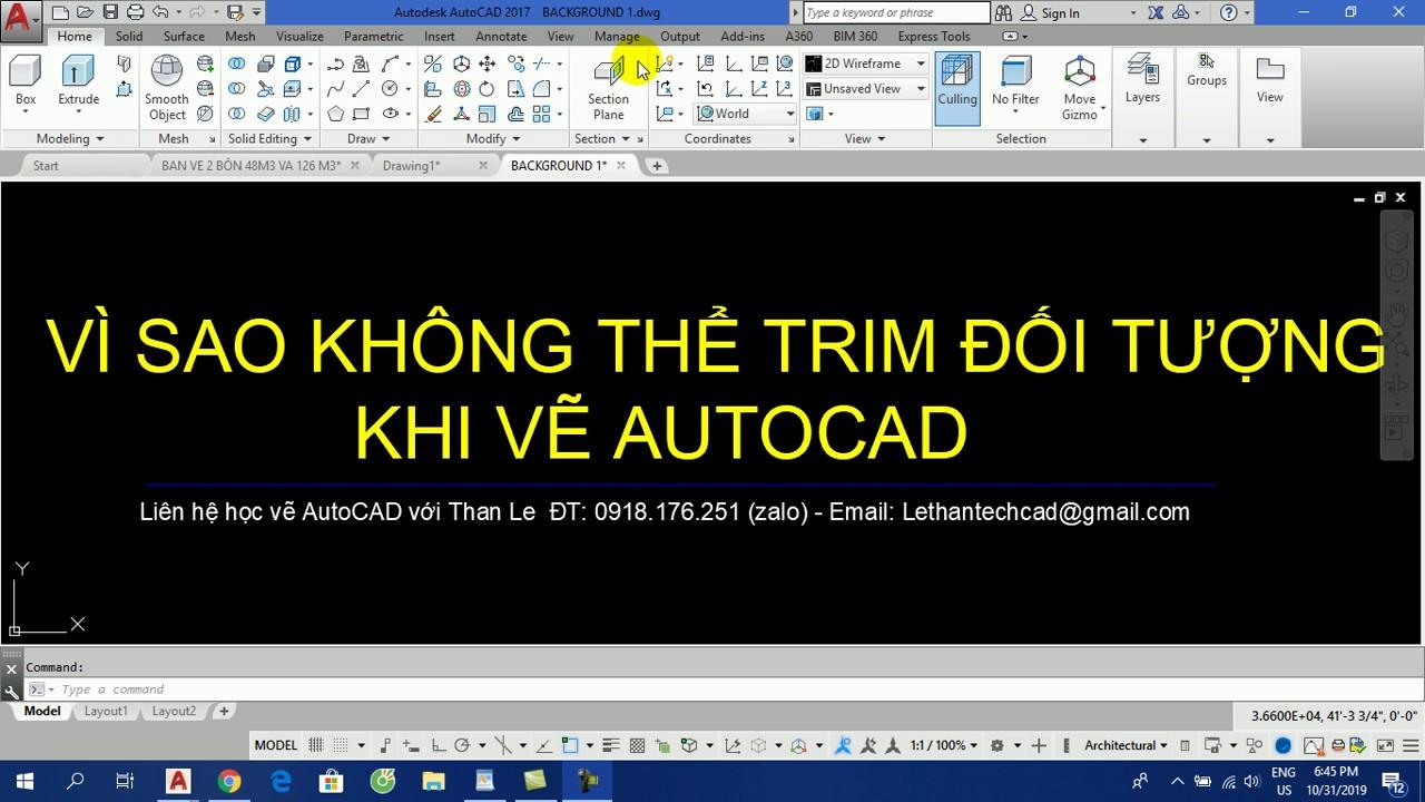 VÌ SAO KHÔNG THỂ TRIM CẮT ĐƯỢC KHI VẼ AUTOCAD – TRIM IS NOT WORKING IN AUTOCAD