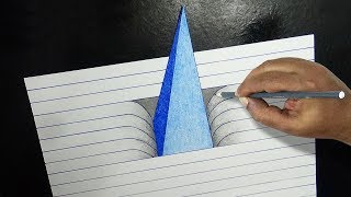How to Draw a 3D Pyramid |  3D Pyramid Drawing | Easy 3D Drawings for Kids | |