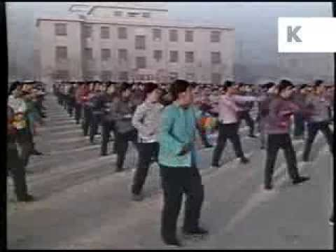 Early 1970s China, Schoolchildren do Morning Group Exercise - Rare 1970s Colour Footage