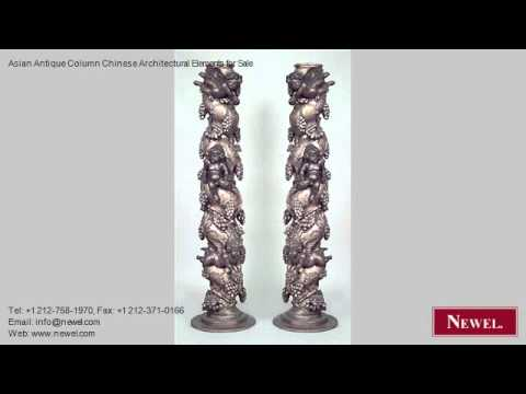 Asian Antique Column Chinese Architectural Elements for