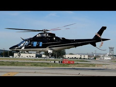 Agusta A109 Executive Helicopter Engine Start, Warm-Up & Depart Van Nuys Airport (N109EX)