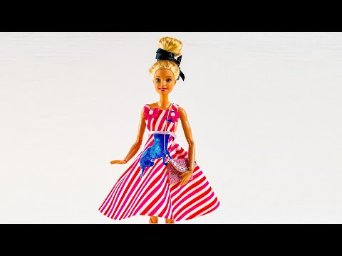Diy Barbie no sew dress -  Diy Barbie dress with glue