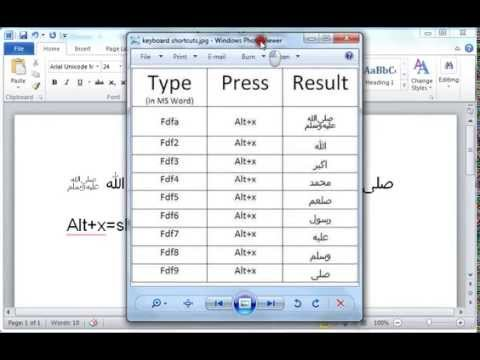 How To Write Islamic Arabic Words In Ms Word Using Keyboard