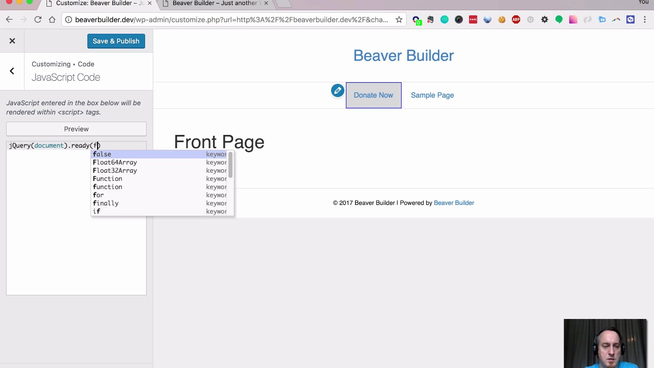 WordPress: How to add Javascript (jQuery) to a Beaver