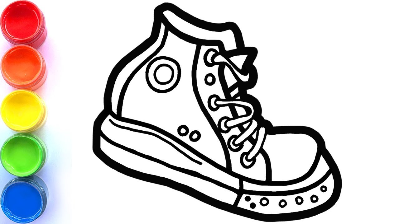 Draw and paint Converse shoes coloring pages for kids, toddlers ...