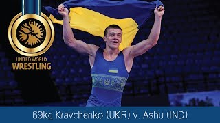 GOLD GR - 69 kg: V. KRAVCHENKO (UKR) df. A. ASHU (IND) by VPO1, 1-1