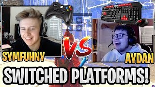 Symfuhny on Controller vs Aydan on Mouse & Keyboard 1v1 in Playground! - Fortnite Funny Moments