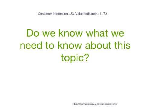 Customer Interactions 23 Action Indicators