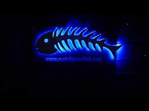 Metal Fish Art. Fishbone Sculpture With L.e.d. Back Lights