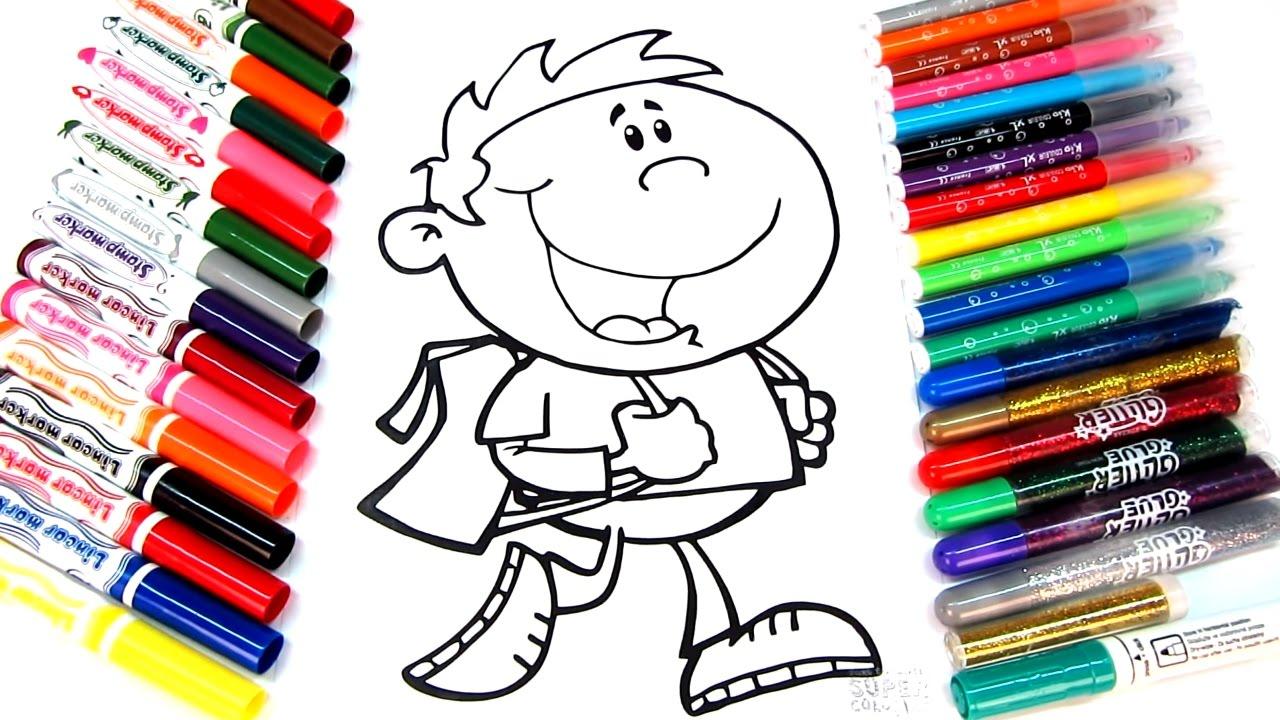 Walking School Boy Coloring Page