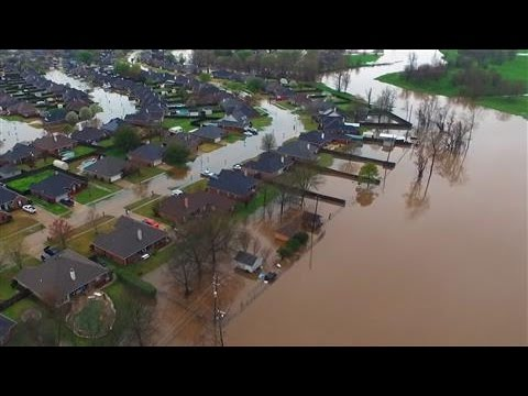 Drone Footage Shows Historic Flooding in Louisiana