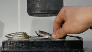 Crushing Victorian Cutlery with Hydraulic press | Crushit