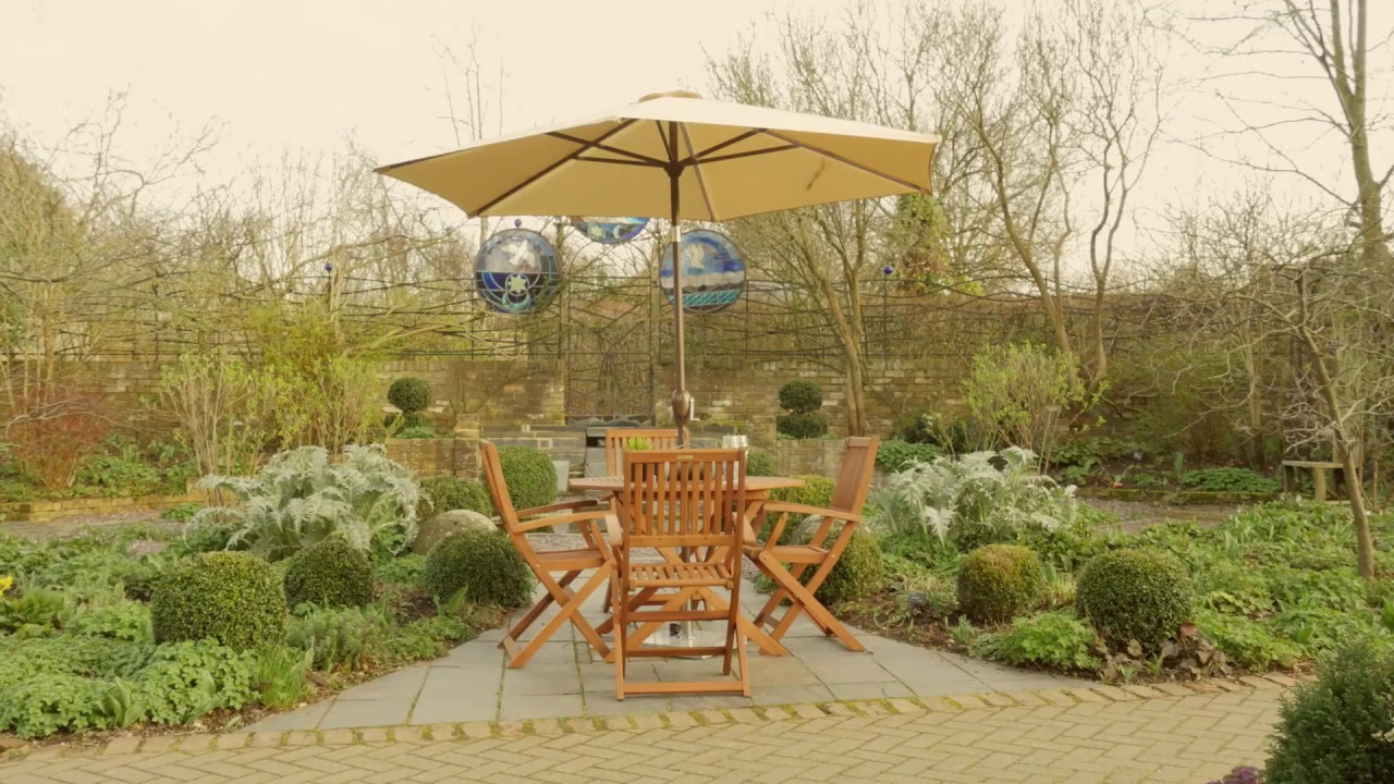 2.7m Garden Parasol with Mains Powered LED lights and USB Charging ...