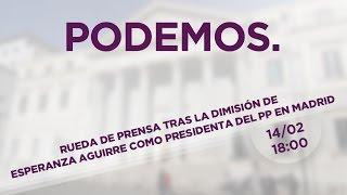 Rueda de prensa tras la dimisión de Esperanza Aguirre como Presidenta del PP en Madrid