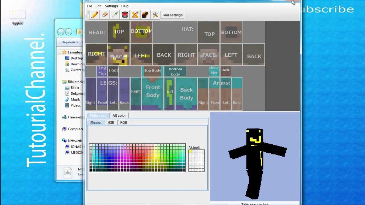 minecraft skins selber erstellen mit skin edit tutorial german deutsch hd tutorialchannel. Black Bedroom Furniture Sets. Home Design Ideas