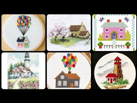 Newu0026 Creative Latest Cross Stitch House 🏘️ Ideas Chaar Suti Hand Embroidery