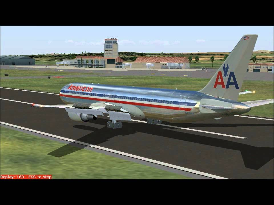 American Airlines 767 300 Landing At Santiago Dominican
